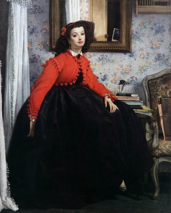 Джеймс Тиссо (1836–1902). Портрет мисс L.L., или Леди в красном жакете. Масло, холст. 124х100 см. Музей д'Орсе, Париж.