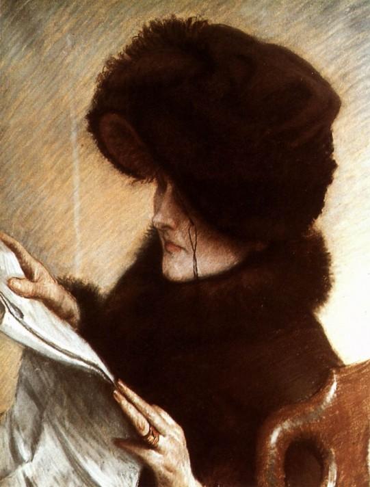 Джеймс Тиссо (1836–1902). Газета. 1883 гг. Пастель, бумага. 63х50 см. Музей Дворца Пети, Париж.