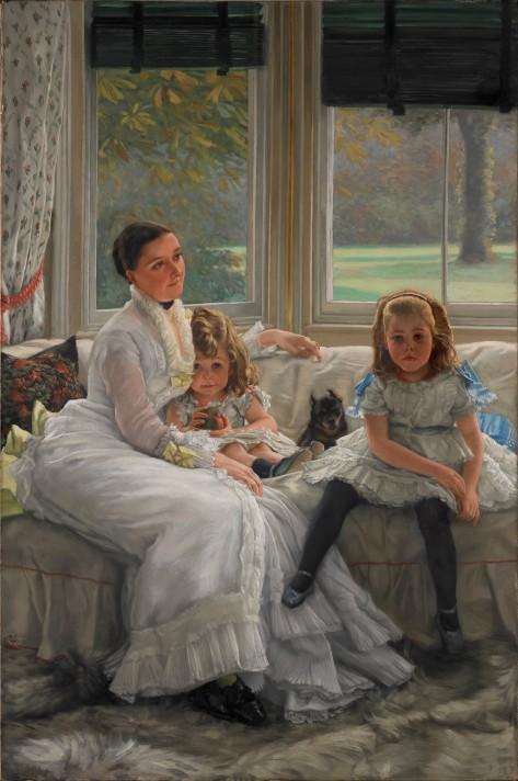 Джеймс Тиссо (1836–1902). Портрет миссис Катрин Смит Джилл и двух ее дочерей. 1877. Масло, холст. 152,5х101,5 см. Художественная галерея Уолкер, Ливерпуль.