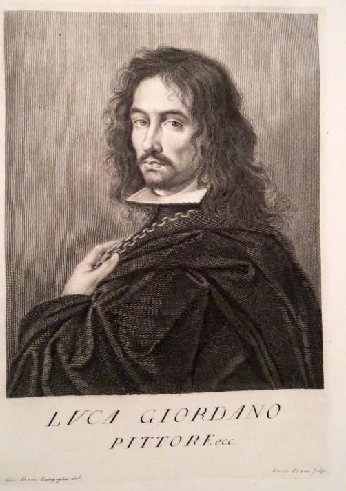 Портрет художника Луки Джордано. Книжная гравюра XVIII века.