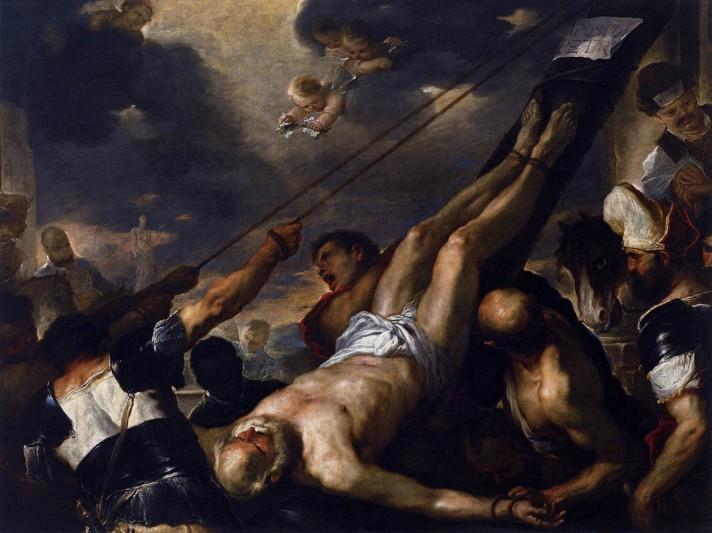 Лука Джордано (1634–1705). Распятие Святого Петра. Около 1660 г. Масло, холст. 196х258 см. Галерея Академии, Венеция.