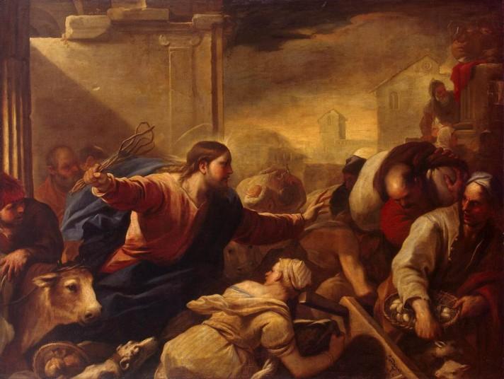 Лука Джордано (1634–1705). Изгнание торговцев из храма. 1675. Масло, холст. 198х261 см. Государственный Эрмитаж, Санкт-Петербург.