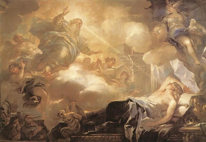 Лука Джордано (1634–1705). Видения Соломона. 1693. Масло, холст. 245х361 см. Прадо, Мадрид.