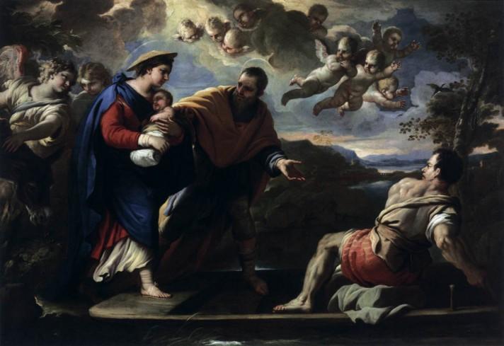 Лука Джордано (1634–1705). Бегство в Египет. 1680-1685. Масло, холст. 204х192 см. Музей изобразительных искусств, Будапешт.