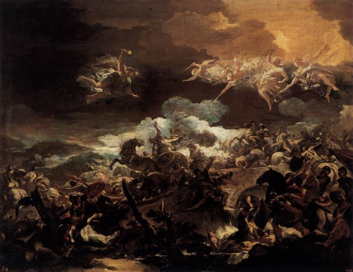 Лука Джордано (1634–1705). Поражение Сисары. 1693. Масло, холст. 102х130 см. Прадо, Мадрид.