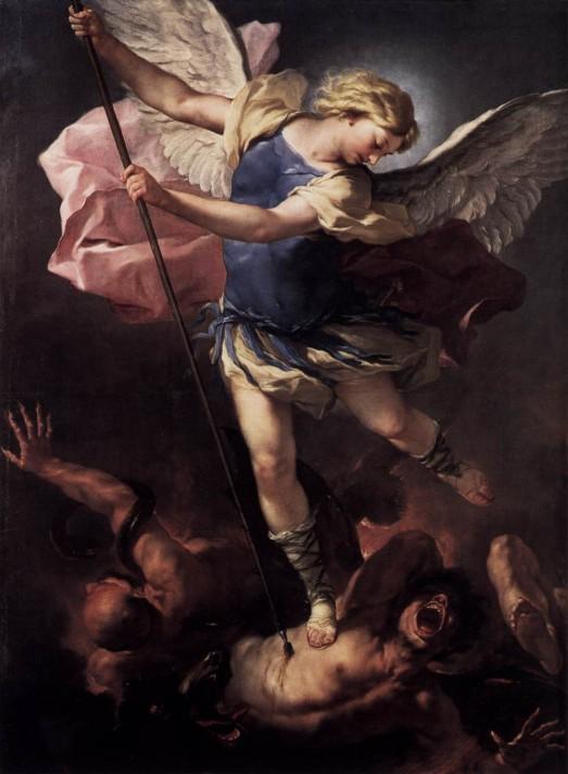 Лука Джордано (1634–1705). Святой Михаил. Около 1683. Масло, холст. 198х147 см. Государственный Музей, Берлин.