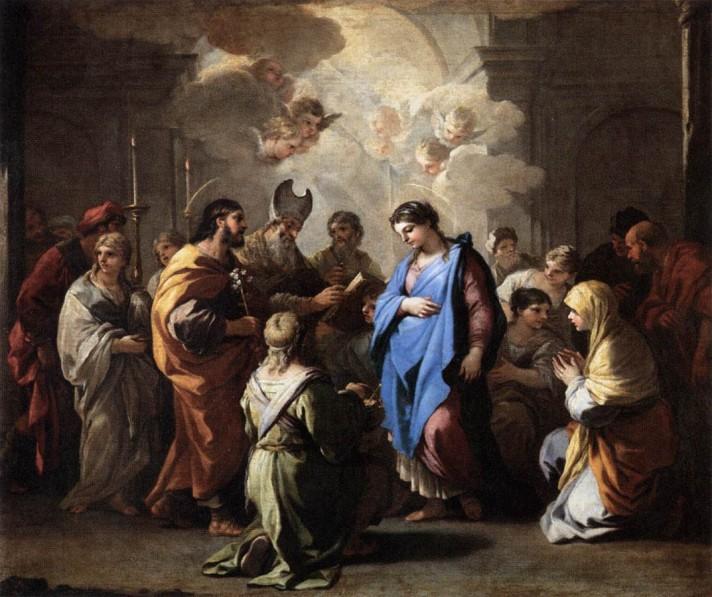Лука Джордано (1634–1705). Обручение Девы Марии. 1688. Масло, холст. 115х135 см. Лувр, Париж.