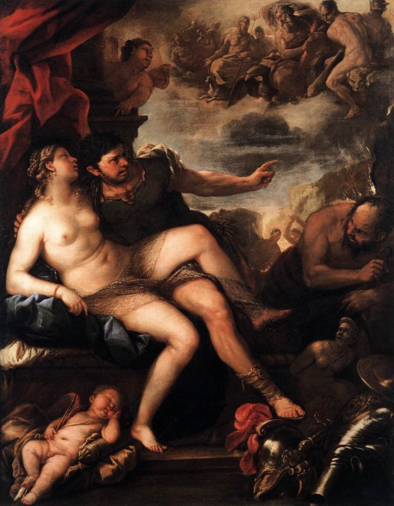 Лука Джордано (1634–1705). Марс и Венера у Вулкана. Масло, холст. 232х182 см. Академия искусств, Вена.