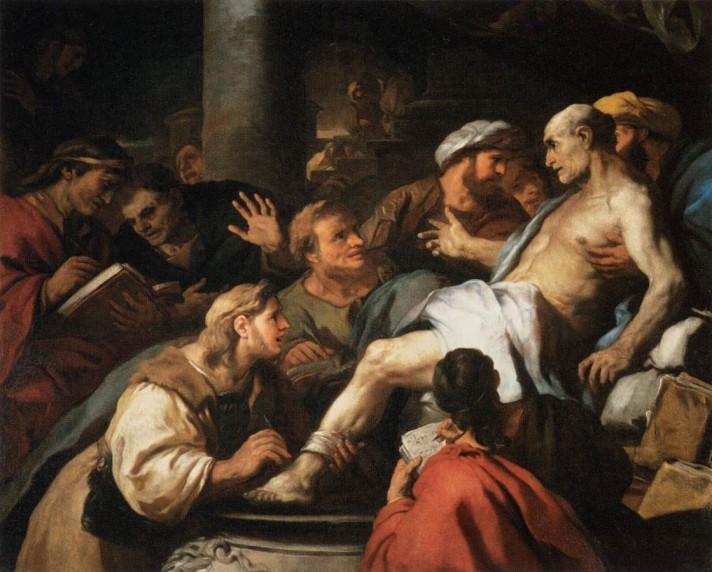 Лука Джордано (1634–1705). Смерть Сенеки. 1684-1685. Масло, холст. 155х188 см. Лувр, Париж.