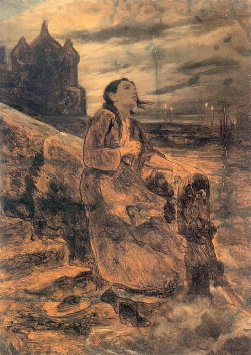 Василий Григорьевич Перов (1833-1882). Девушка, бросающаяся в воду. Эскиз. 1879. Холст, масло. 56,5х41,7 см. Государственный русский музей, Санкт-Петербург.