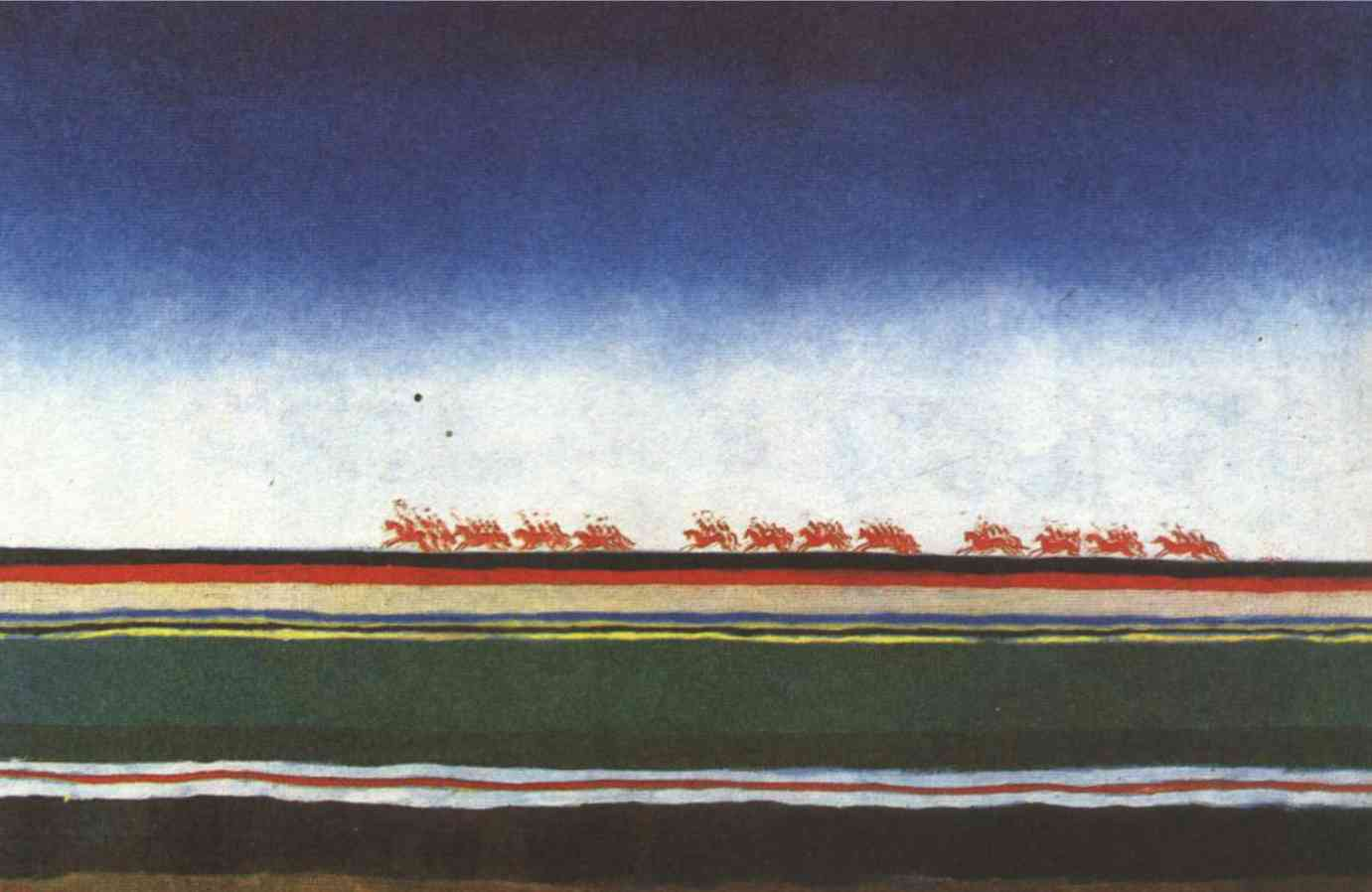 Казимир Малевич. Скачет красная конница. Между 1928 и 1932 гг. Масло, холст. 91х140 см. Государственный Русский музей, Санкт-Петербург.