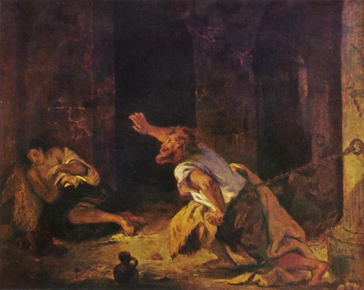 Эжен Делакруа (1798-1863). Шильонский узник. 1834. Масло, холст. 74х91 см. Лувр, Париж.