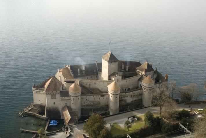 Шильонский замок. Вид во времена Байрона. XIX век.