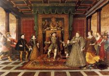 Лукас де Гир (1534-1584). Семья Генриха VIII. Аллегорическое изображение порядка наследования. Около 1572 г. Масло, дерево. 131,2х184 см. Национальный музей Уэльса, Кардифф.