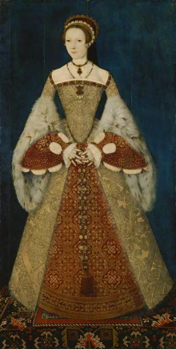 Мастер Джон. Портрет Екатерины Парр (1512-1548). Около 1545. Масло, дерево. 180,3х94 см. Национальная портретная галерея, Лондон.