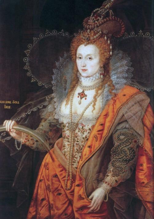 Исаак Оливер (1556-1617) или Маркус Геретс-младший (1561-1636). Портрет Королевы Елизаветы I (1533-1603). Около 1600-1602. Масло, холст. 127х99,1 см. Коллекция Солсбери, Хэтфильд.