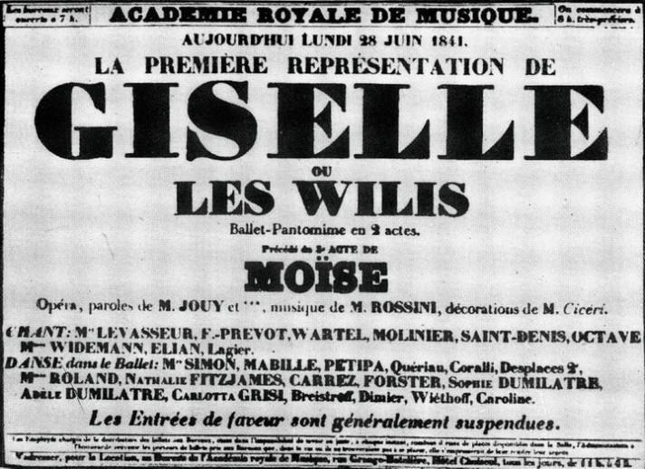 Афиша премьеры «Жизели» Адана. Париж, 28 июня 1841 г.