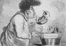 Александр Дюма варит из исторических персонажей бульварный роман. Карикатура 1847 г.