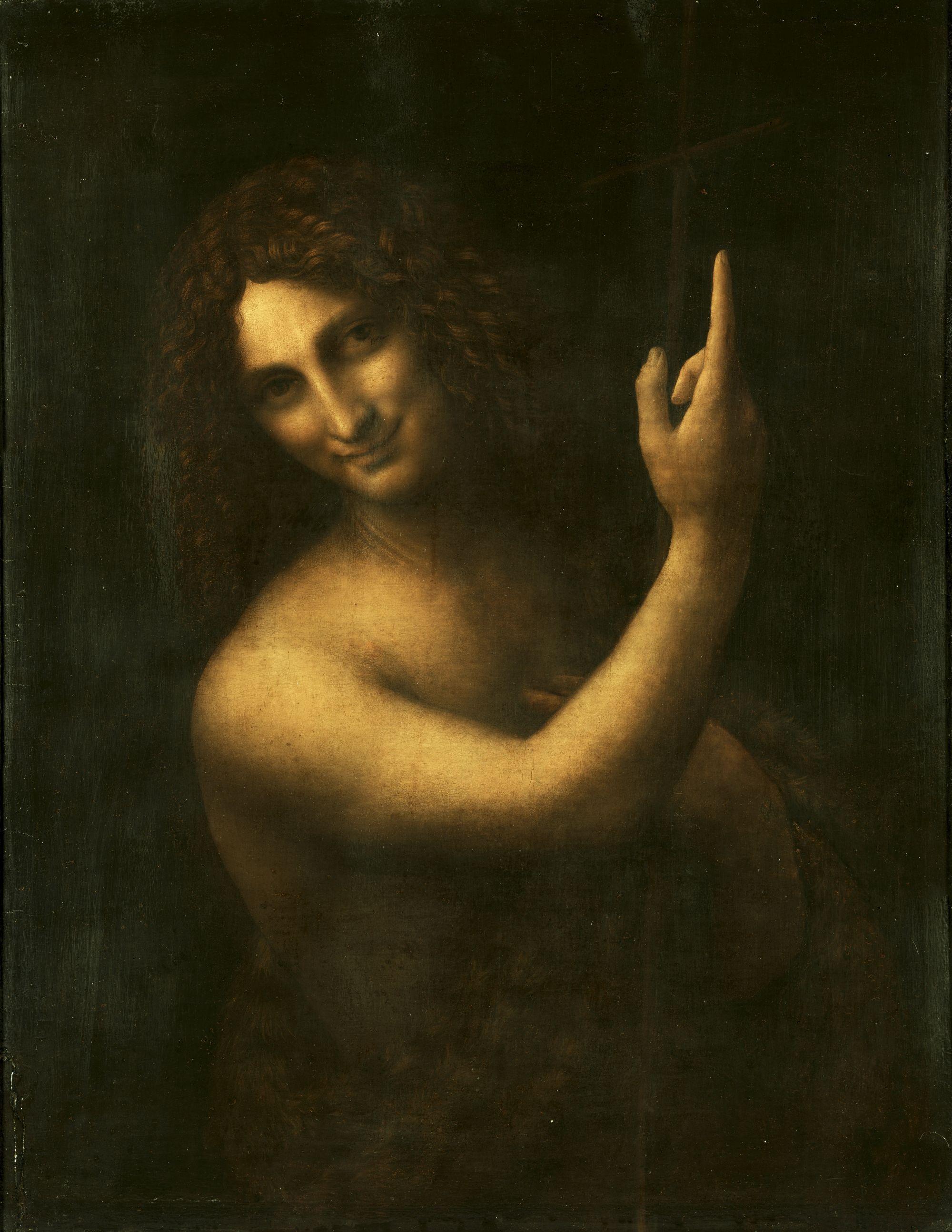 Леонардо да Винчи. Иоанн Креститель. 1514-1516. Масло, дерево. 69х57 см. Лувр, Париж.