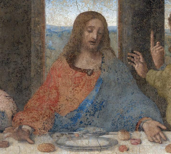 Леонардо да Винчи. Тайная вечеря. 1495-1498. 460х880 см. Санта-Мария-делле-Грацие, Милан. Фрагмент. Перст, воздетый к небу.
