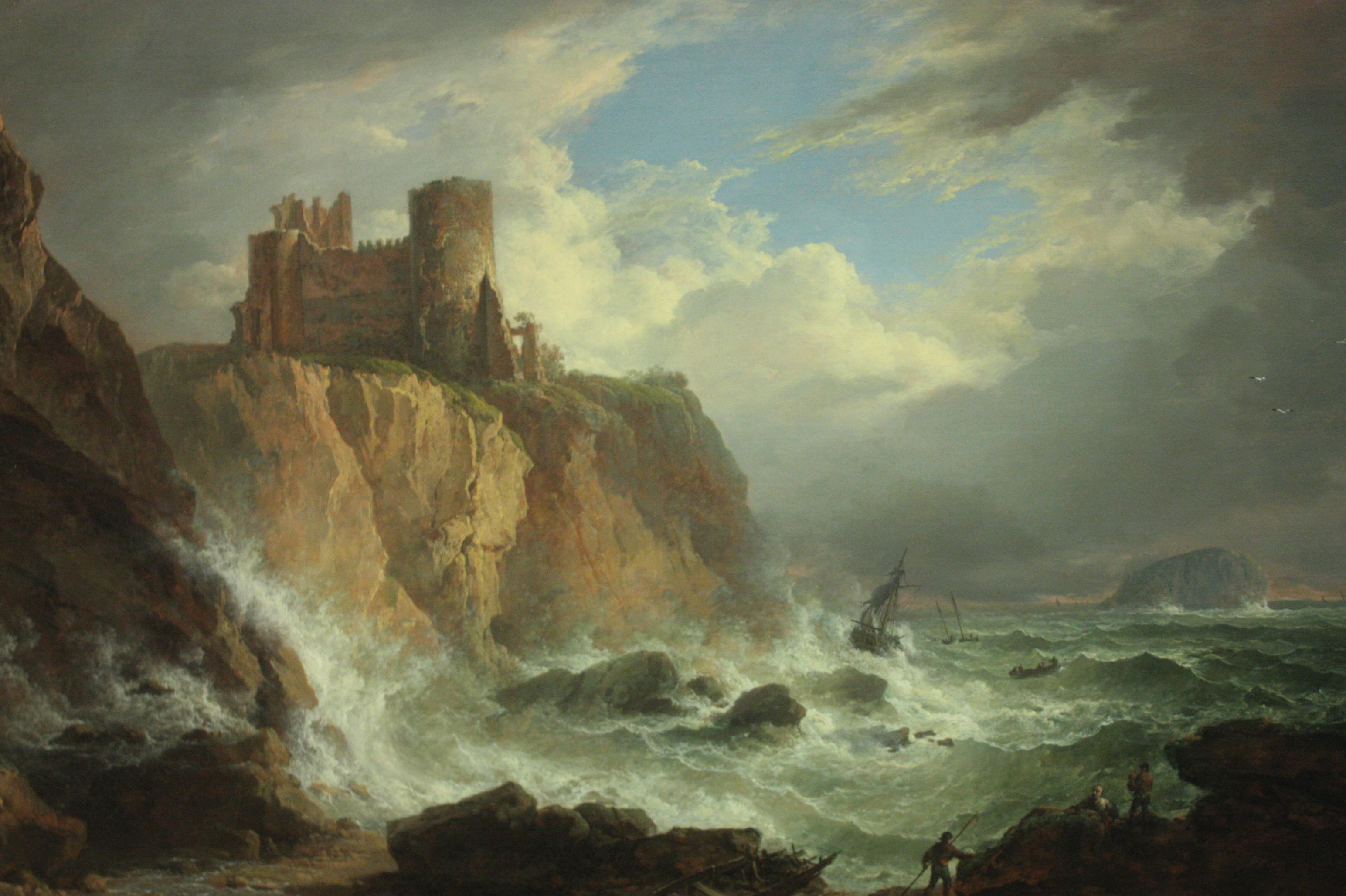 Александр Несмит. Вид на замок Танталон и скалу Бас. 1816.Масло, холст. 92х122,3 см. Шотландская национальная галерея, Эдинбург.