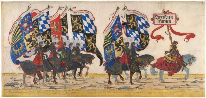 Альбрехт Альтдорфер. Кавалькада германского принца. Фрагмент эскиза парада. 1513-1516. Альбертина, Вена.