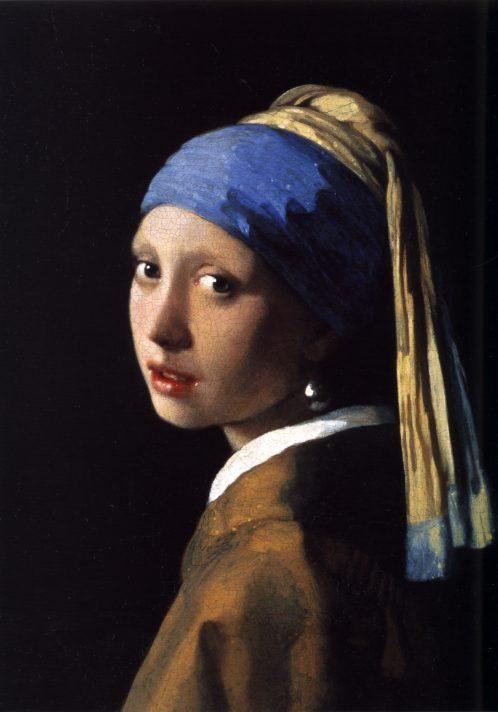 Ян Вермеер (1632-1675). Девушка с жемчужной сережкой. 1665. Масло, холст. 46,5х40 см. Королевская галерея Маурицхейс, Гаага.
