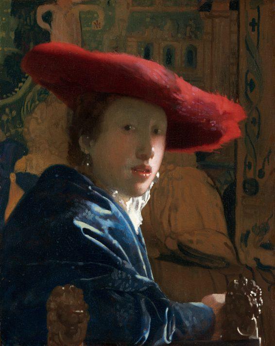 Ян Вермеер (1632-1675). Женщина в красной шляпе. 1665-1666. Масло, дерево. 22,8х18 см. Национальная галерея искусства, Вашингтон.