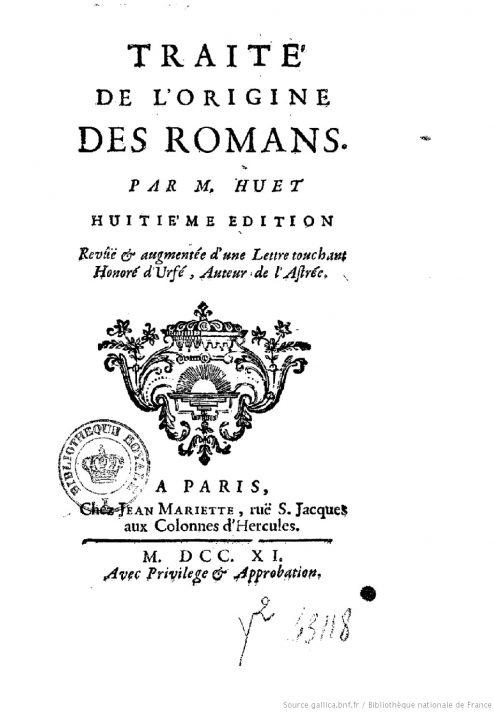Титульный лист 8-го издания «Трактата о возникновении романов». Париж, 1711.