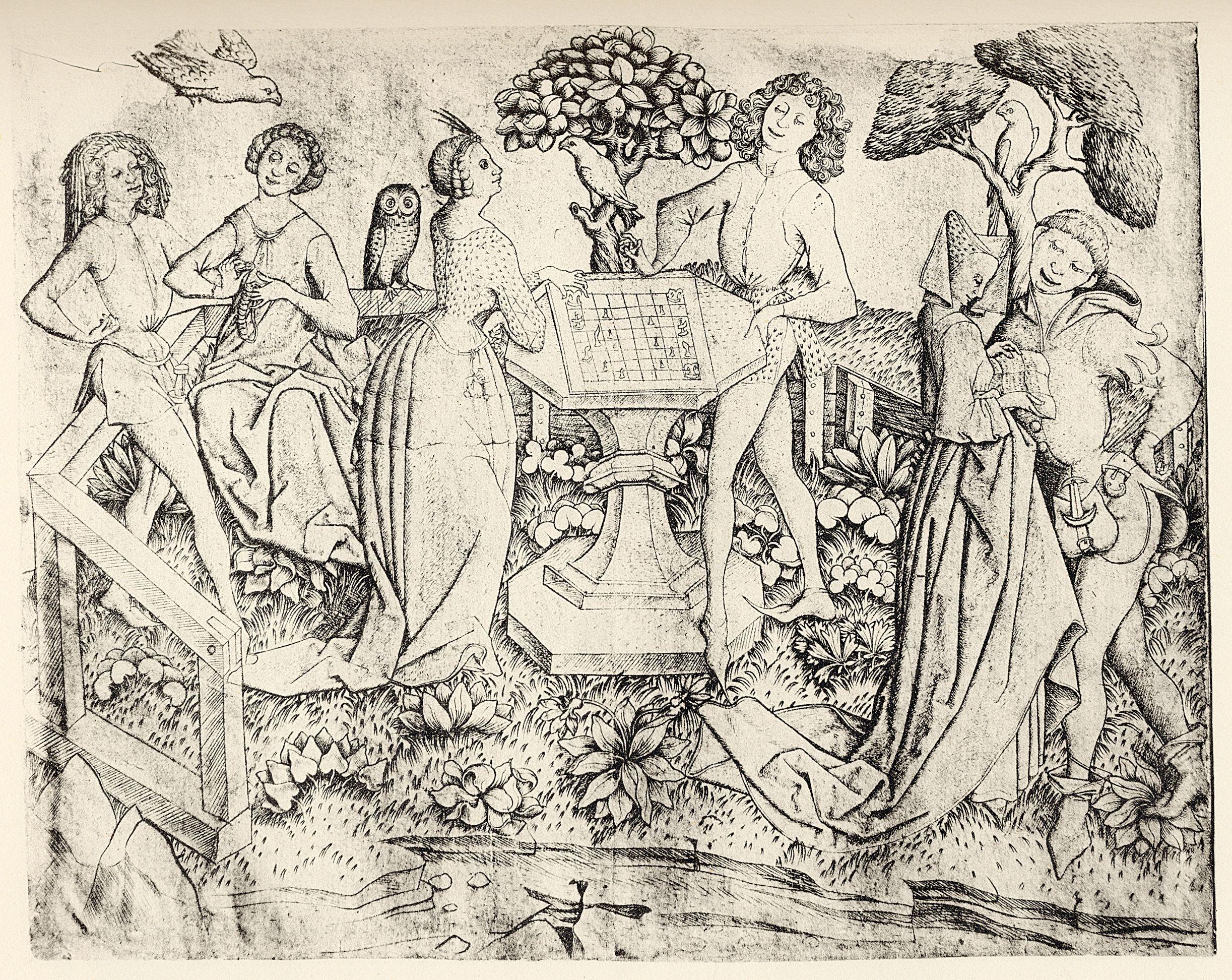 Master E.S. (предположительно). Большой сад любви с шахматистами. 1460-1467. Ксилография. 16,8х21,0 см. Гравюрный кабинет, Берлин. Источник https://upload.wikimedia.org/