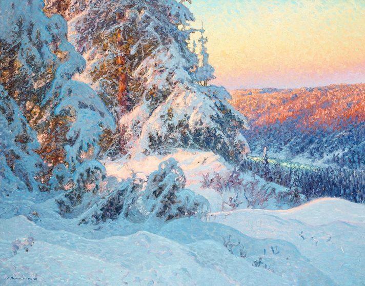 Ансельм Шульцберг (1862-1945). Зимний снежный пейзаж. Масло, холст. 86х110 см. Частная коллекция. Источник http://2.bp.blogspot.com/