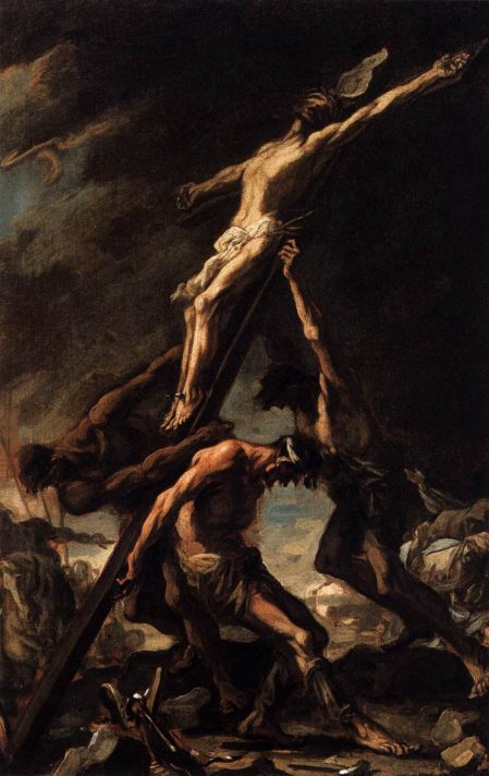 Алессандро Маньяско (1667-1749). Воздвижение креста. Масло, холст. 57х37 см. Академия архитектуры, Вена. Источник http://www.wga.hu/