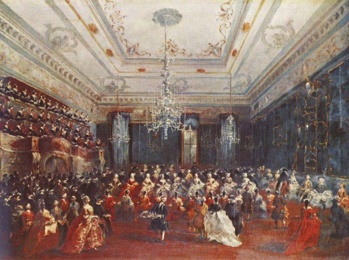 Франческо Гварди (1712-1793). Венецианский гала-концерт. 1782. Масло, холст. 68х91 см. Старая Пинакотека, Мюнхен, Германия. Источник https://upload.wikimedia.org/