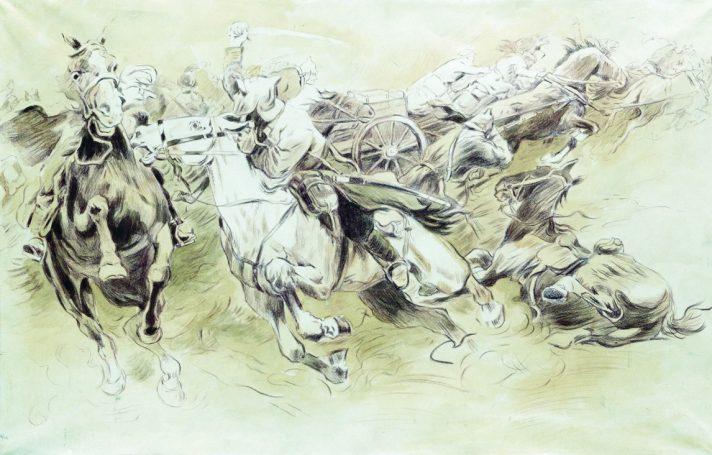Николай Самокиш (1860-1944). Кавалерийское сражение. Центральный музей Вооруженных Сил, Москва. Источник http://www.the-athenaeum.org/