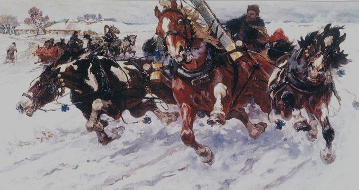 Николай Самокиш (1860-1944). Тройка. 1917. Национальный художественный музей Украины, Киев. Источник http://www.the-athenaeum.org/