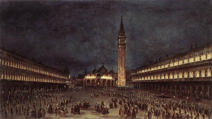 Франческо Гварди (1712-1793). Ночная процессия на площади Сан-Марко. 1758. Масло, холст. 48х85 см. Музей Эшмола, Оксфорд, Великобритания. Источник http://www.wga.hu/