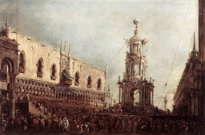 Франческо Гварди (1712-1793). Дож участвует в празднествах на Пьяцетте в Великий четверг. 1776/1780. Масло, холст. 67х100 см. Лувр, Париж, Франция. Источник http://www.wga.hu/