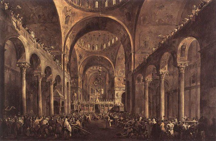 Франческо Гварди (1712-1793). Появление дожа среди народа в базилике Сан-Марко. 1775/1777. Масло, холст. 67х100 см. Королевские музеи изящных искусств, Брюссель, Бельгия. Источник http://www.wga.hu/