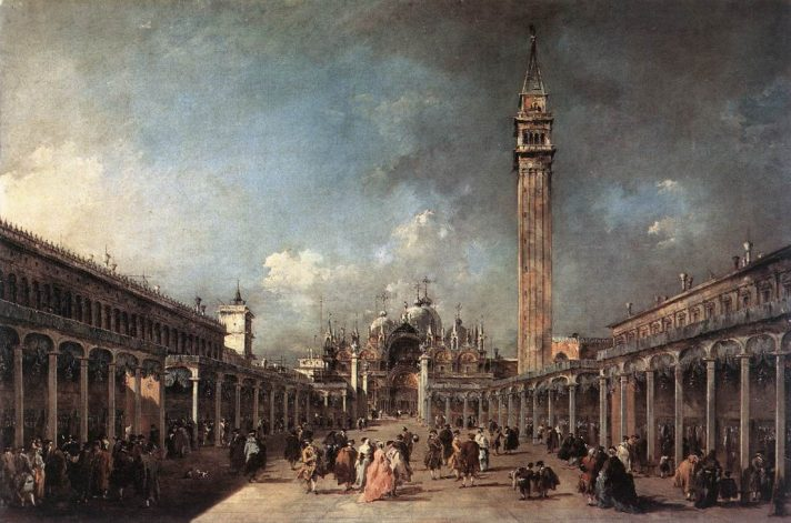 Франческо Гварди (1712-1793). Площадь Сан-Марко. 1777. Масло, холст. 61х91 см. Музей Галуста Гульбекяна, Лиссабон, Португалия. Источник http://www.wga.hu/