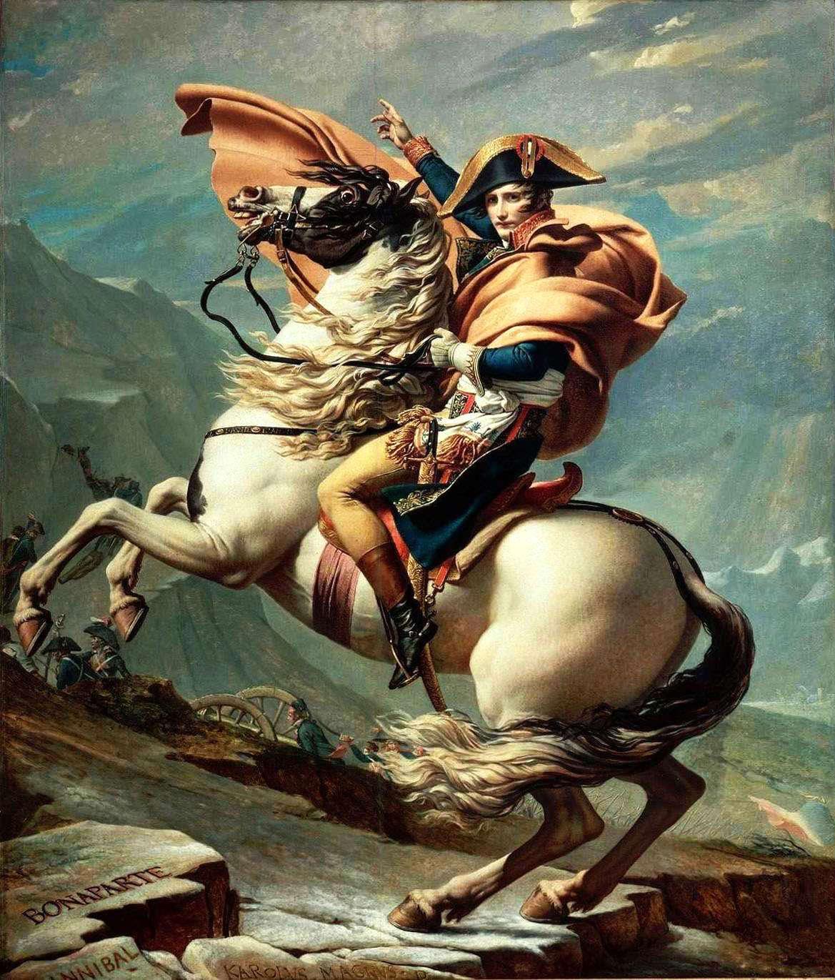 Жак-Луи Давид. Наполеон на перевале Сен-Бернар. 1800. Масло, холст. 261х220 см. Мальмезон, Париж. Источник https://upload.wikimedia.org/