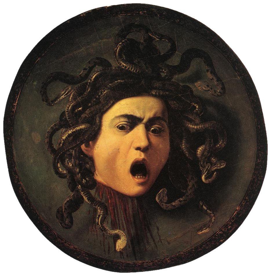 Караваджо. Голова Медузы. 1595-1596. Масло, холст на дереве. Диаметр 55 см. Галерея Уффици, Флоренция, Италия. Источник https://upload.wikimedia.org/