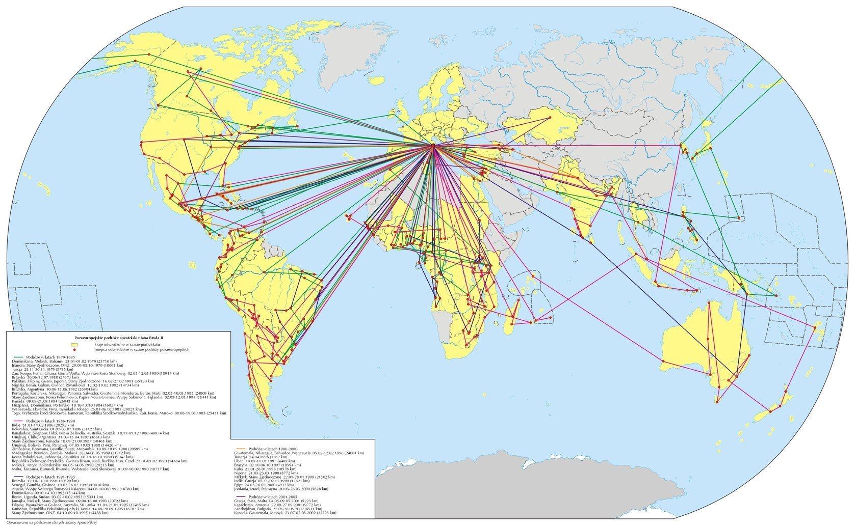 Карта пасторских поездок Иоанна ПавлаII Источник: Викимедиа