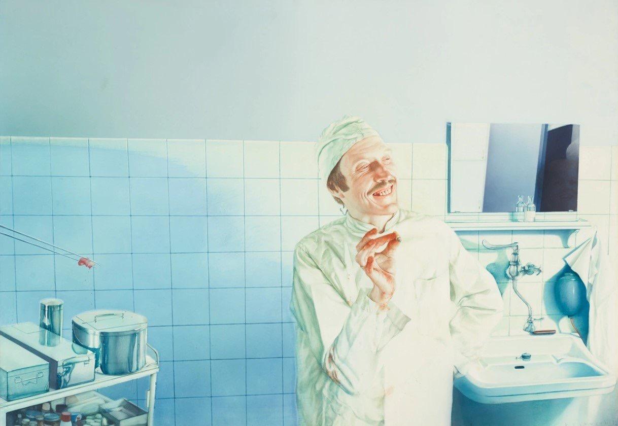 Готфрид Хельнвайн. Насмешливый медик. 1973. Источник: Albertina Museum