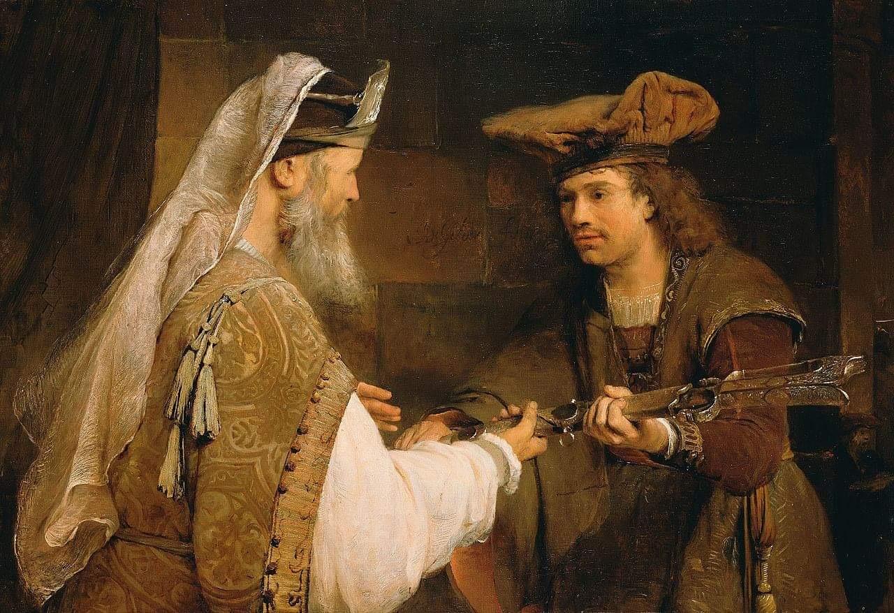 Арент де Гелдер. Агимелех передаёт меч Голиафа Давиду. 1680-е. Масло, холст. 90,1 х 132,0 см. Музей Гетти. Лос-Анжелес, США.  Источник: Викимедиа