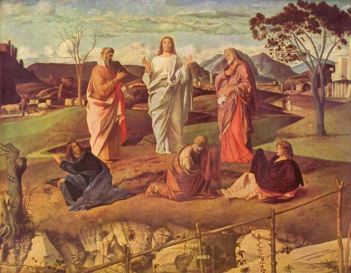 Джованни Беллини. Преображение Господне. 1487. Масло, дерево. 115х182 см. Национальная галерея Каподимонте, Неаполь.