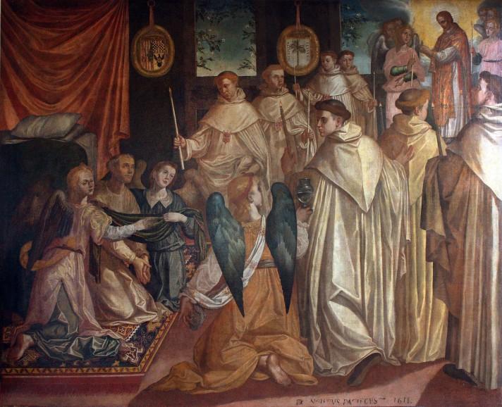Франсиско Пачеко дель Рио (1564-1644). Последнее причастие Святого Петра Нолаского. 1611. Музей Боуз, Дорэт.