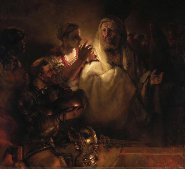Рембрандт Хаарменс ван Рейн (1606–1669). Отречение Святого Петра. 1660. Масло, холст. 154х169 см. Рейксмюзеум, Амстердам.