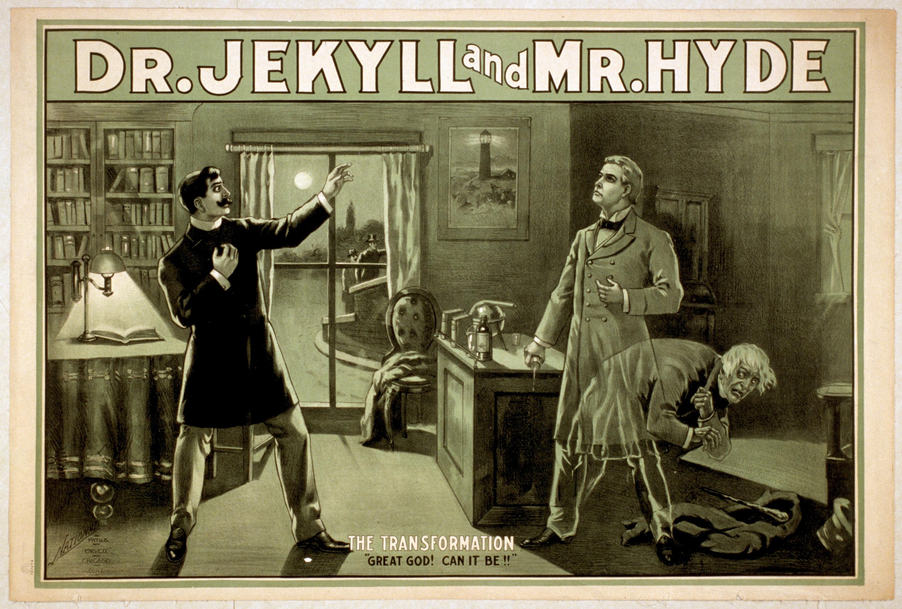 Доктор Джекил и мистер Хайд. Театральная афиша XIX века.