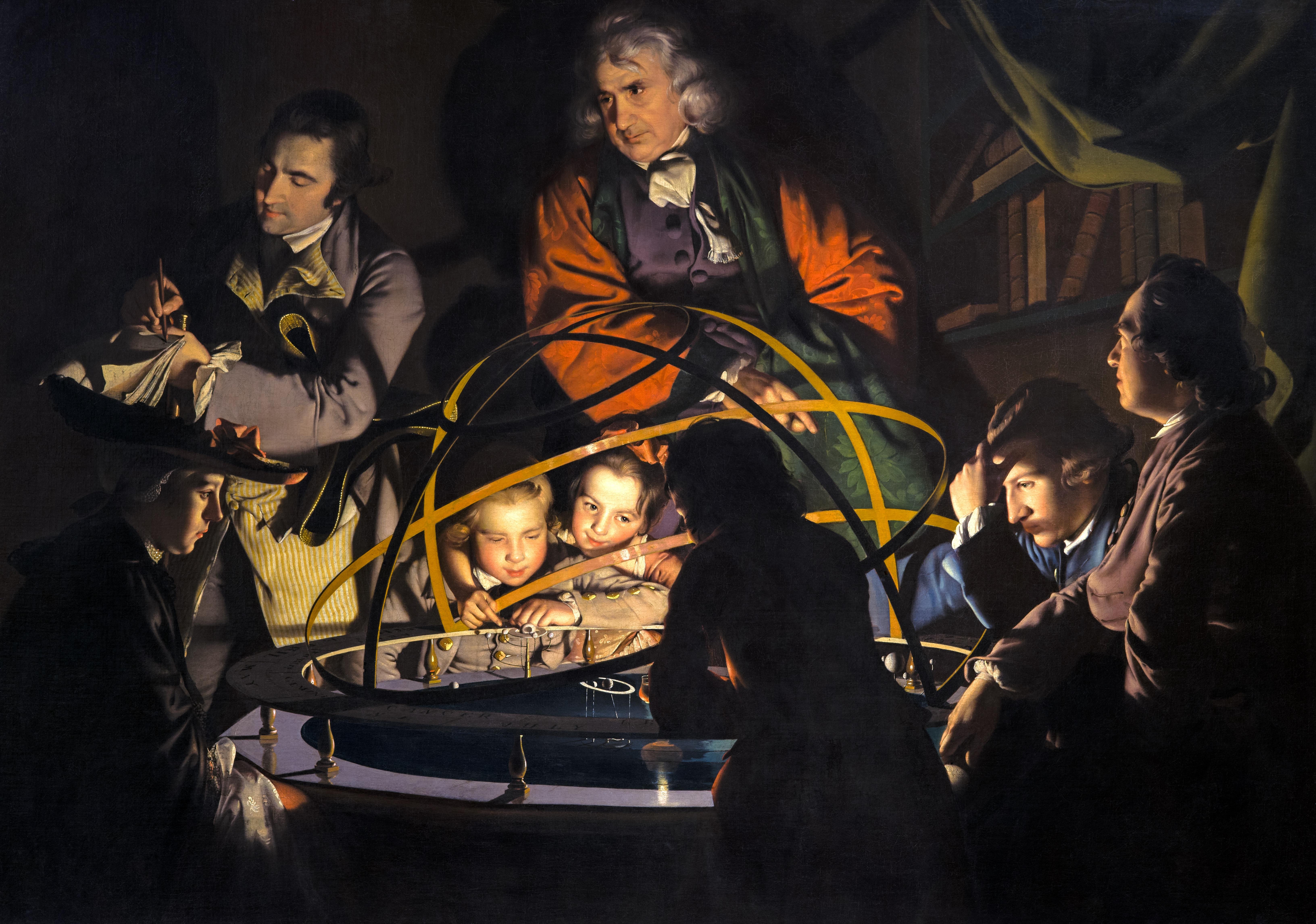 Джозеф Райт из Дерби. «Философ, объясняющий модель Солнечной системы, в которой лампа замещает Солнце». 1744-1766. Масло, холст. 147,3х203,2 см. Музей и художественная галерея Дерби.