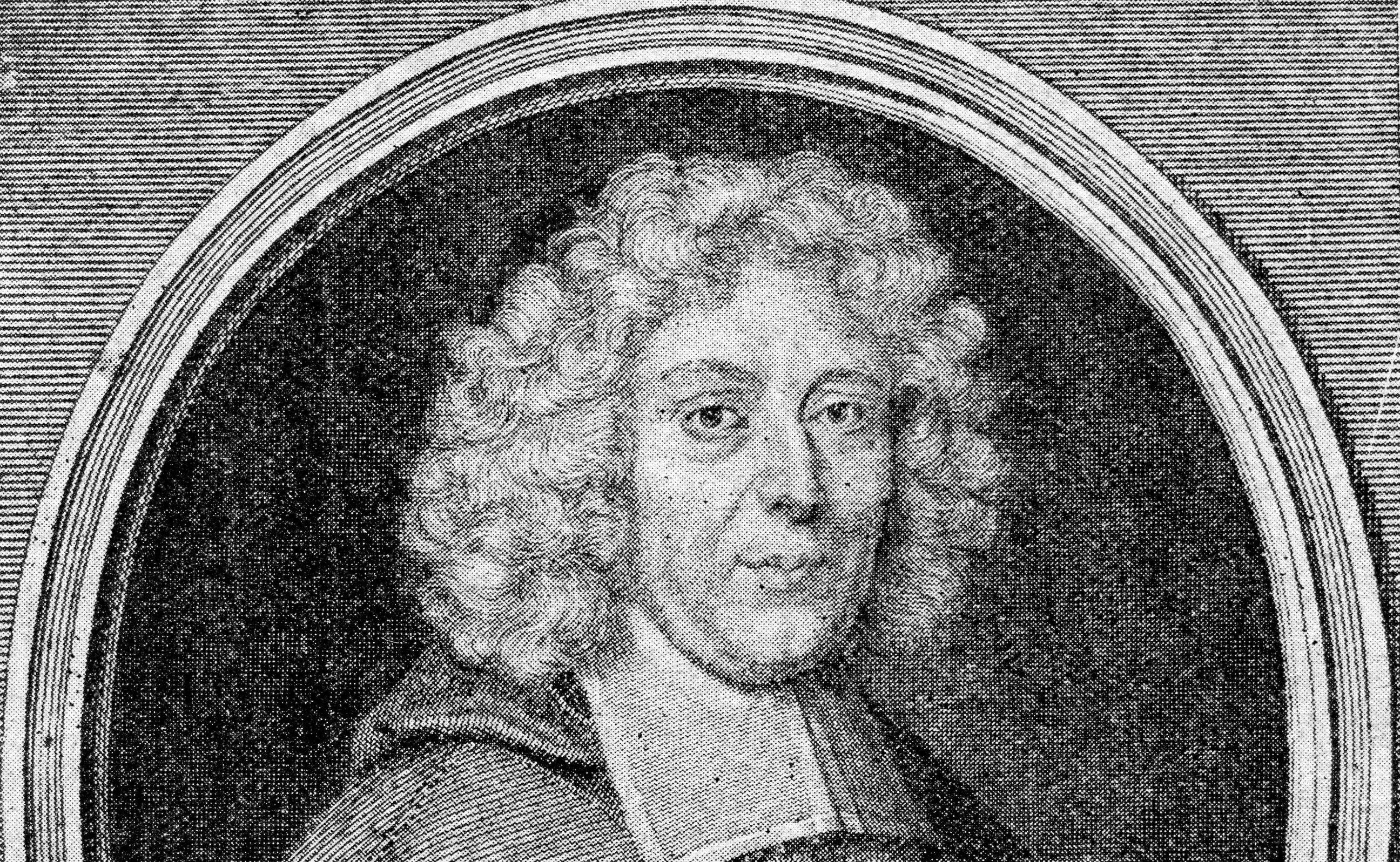 Портрет Пьера Даниэля Юэ. Оттиск гравюры, приложенный к изданию сочинений.